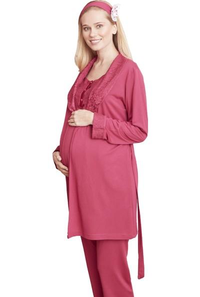 Şık Mecit 5001 Şal Yaka Sabahlıklı Hamile Lohusa Pijama Takımı