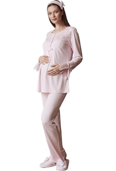 Şık Mecit 5014 Güpür Yaka Hamile Lohusa Pijama Takımı