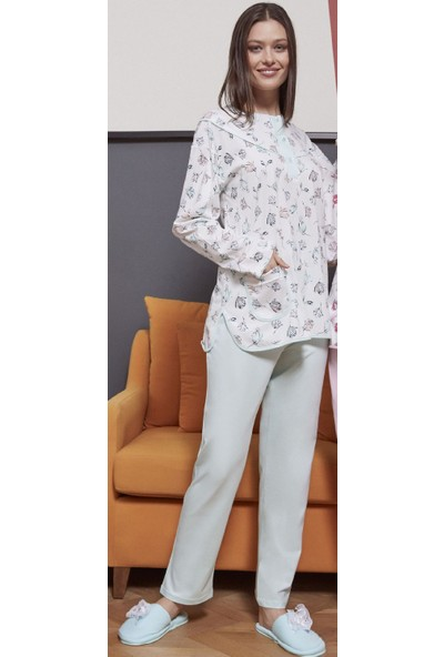 Şık Mecit 5047 Pamuk Uzun Kollu Büyük Beden Kadın Pijama Takımı