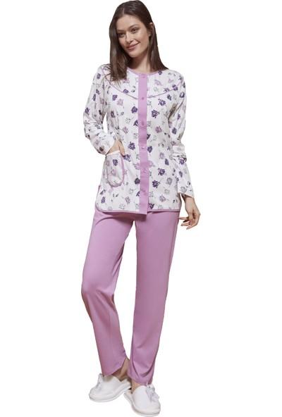Şık Mecit 5048 Pamuk Uzun Kollu Büyük Beden Kadın Pijama Takımı