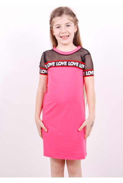 Toontoy Kız Çocuk Elbise Tüllü Şeritli