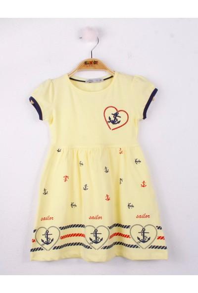 Toontoy Kız Çocuk Elbise Çapa Nakışlı
