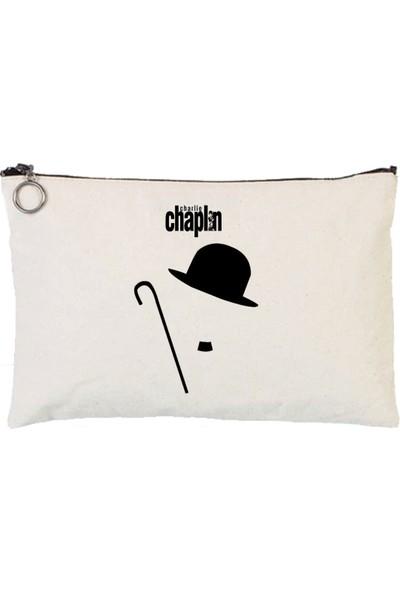 Art T-Shirt Charlie Chaplin Astarlı Bez Tablet Ve Makyaj Çantası