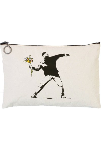 Art T-Shirt Banksy Rage The Flower Astarlı Bez Tablet Ve Makyaj Çantası