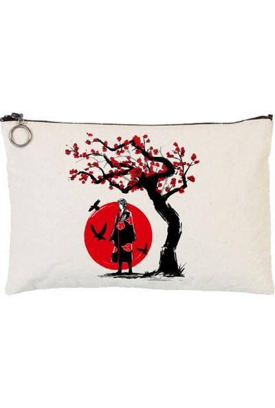 Art T-Shirt Ninja Sakura Astarlı Bez Tablet Ve Makyaj Çantası