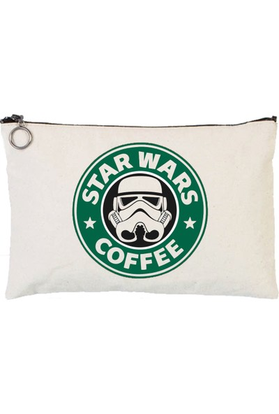 Art T-Shirt Star Wars Coffee Astarlı Bez Tablet Ve Makyaj Çantası