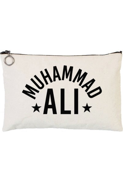 Art T-Shirt Muhammad Ali Astarlı Bez Tablet Ve Makyaj Çantası