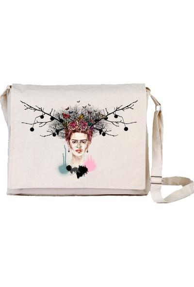 Art T-Shirt Frida Autumnal Bez Postacı Çantası