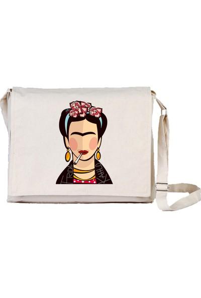 Art T-Shirt Frida Portre Bez Postacı Çantası