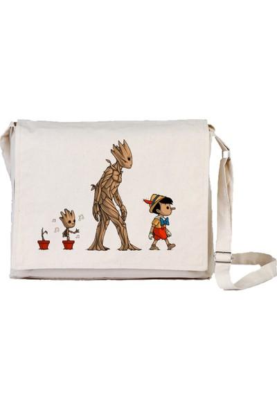 Art T-Shirt Groot And Pinokyo Bez Postacı Çantası