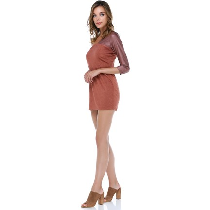 93ae6688d4a7e Tantrona Tek Kol Parlak Deri Kumaşlı Mini Elbise Fiyatı