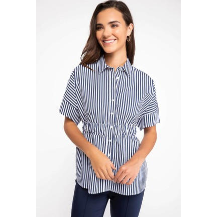 873d851c4d579 Defacto Kadın Kuşak Detaylı Çizgili Gömlek Fiyatı