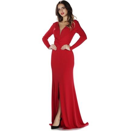 235951931d231 Pierre Cardin Kırmızı İthal Krep Uzun Kollu Abiye Elbise Fiyatı