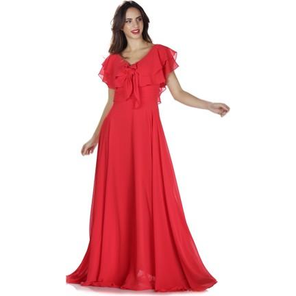 8fd8f9c18f3e9 6ixty8ight Kırmızı Bel Drapeli Şifon Uzun Abiye Elbise Fiyatı