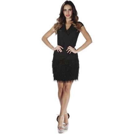 164879f35af2d 6ixty8ight Siyah Eteği Tüylü Kısa Abiye Elbise Fiyatı