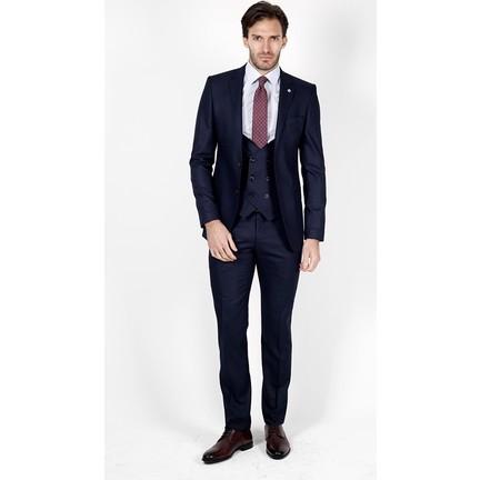 0571ab4f91bba Jakamen Desenli Dar Kalıp - Slim Fit Lacivert Takım Elbise Fiyatı