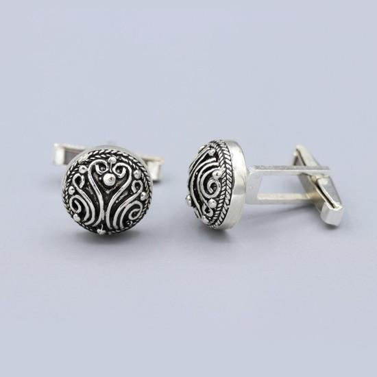 Akyüz Gümüş Telkari Gümüş Kol Düğmesi 040
