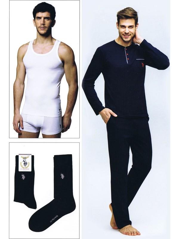 U.S. Polo Assn. Erkek Damat Çeyiz Pijama Çamaşır Takım 4Lü Lacivert 17394