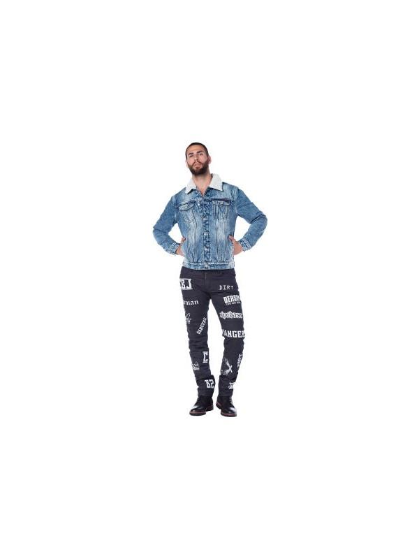 Cipo&Baxx CJ136 İçi Kürklü Yakalı Mavi Jean Ceket Erkek Kot Mont