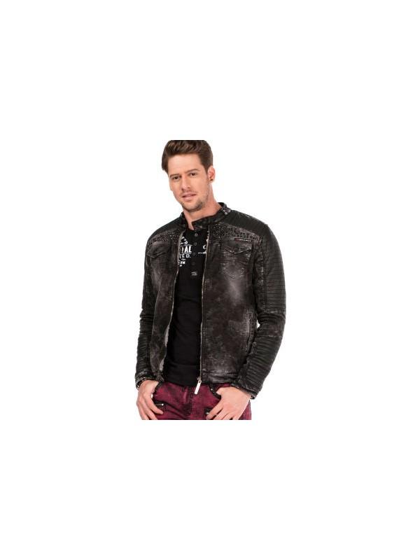 Cipo&Baxx CJ236 İçi Kürklü Metal İşlemeli Siyah Erkek Kot Ceket