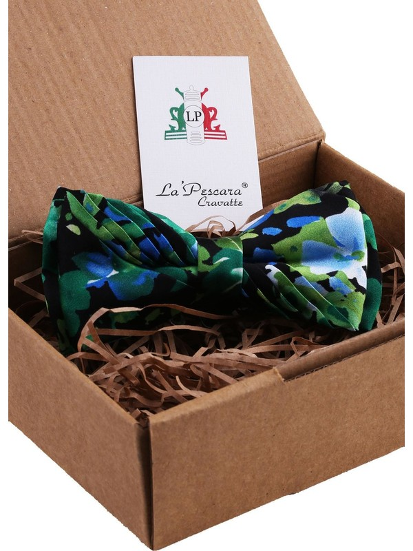 La Pescara Yeşil - Siyah Çiçek Desen Pilise İpek Papyon ESB12