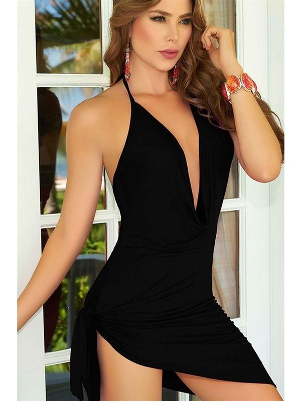 For Dreams Seksi Mini Elbise Siyah