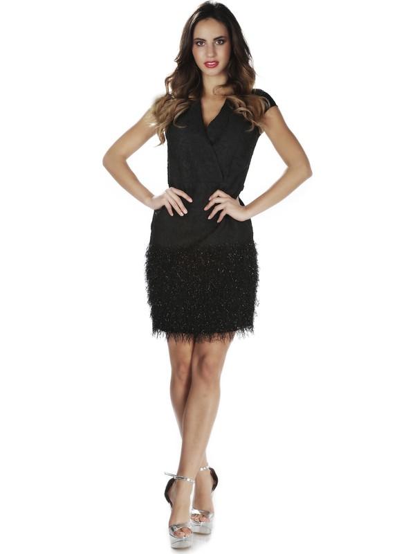 Carmen Siyah Eteği Tüylü Kısa Abiye Elbise