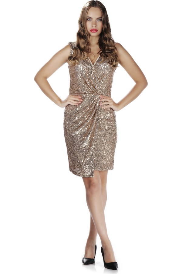 6ixty8ight Silver Sequined V Neck Short Evening Dresses