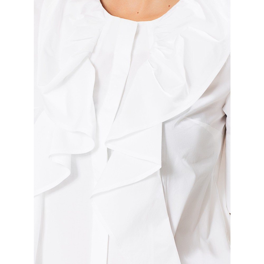 df3207a31c191 Roman Önü Fırfır Detaylı Beyaz Koton Gömlek Fiyatı