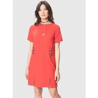 Roman Düğme Ve Yırtmaç Detaylı Kırmızı Elbise