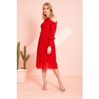 Eka Omuzu Açık Tül Elbise-Kırmızı