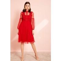 Eka Beli Lastikli Dantelli Elbise-Kırmızı