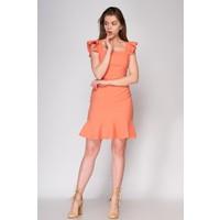 Fashion Light Mercan Volanlı Elbise FL0029