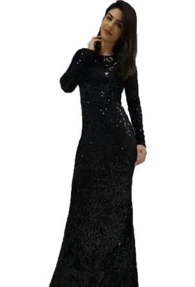 Barevsu Kadife Payet Balık Kadın Abiye Elbise 539