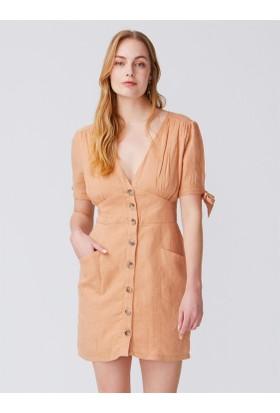 ba40c1d3b614d Dilvin 9974 Sırt Detaylı Kolları Bağcıklı Elbise-Açık Camel