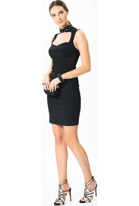 00d150a818cb0 Roman Boyun Detaylı Siyah Abiye Elbise Roman Boyun Detaylı Siyah Abiye  Elbise ...