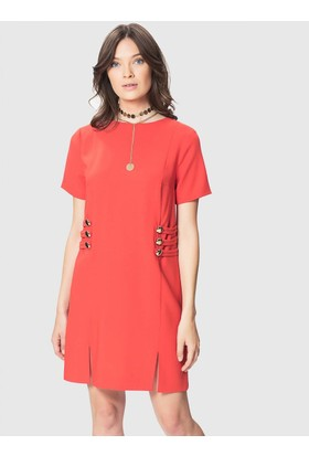 bbf225eb9eb53 Roman Düğme Ve Yırtmaç Detaylı Kırmızı Elbise ...