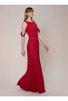 63c8530d42a72 Roman Kol Detaylı Kırmızı Abiye Elbise Roman Kol Detaylı Kırmızı Abiye  Elbise ...