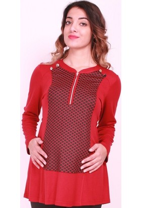 Işşıl Hamile Giyim Baklava Desen Fermuar Düğmeli Tunik