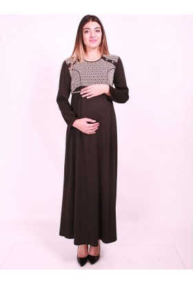 11dd2ee2b3a6a ... Işşıl Hamile Giyim Kare Düğme Tesettür Elbise