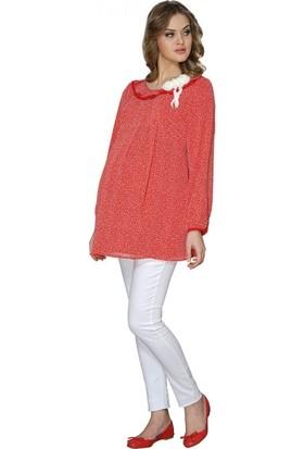 Işşıl Hamile Giyim Mini Çizgi Desen Kol Astarlı Tunik