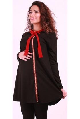 Işşıl Hamile Giyim Yaka Kurdele Şeritli Tunik