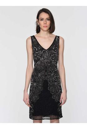 66a93b0f8b02f Roman İşlemeli Çiçek Desenli Siyah Abiye Elbise Y1961104001 ...