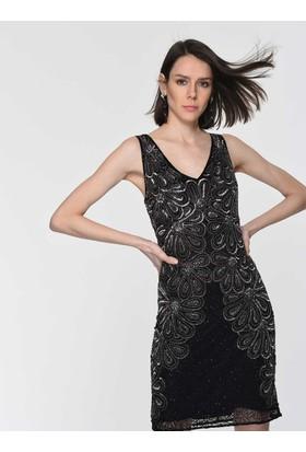 81067611055f1 ... Roman İşlemeli Çiçek Desenli Siyah Abiye Elbise Y1961104001 ...