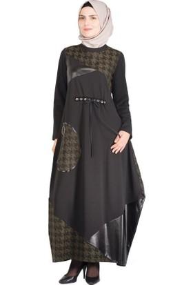 Sofmina Elbise Nvsy18K005 - Haki-Siyah