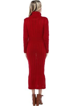 Modkofoni Balıkçı Yaka Saç Örgülü Kırmızı Triko Elbise