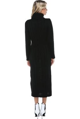 Modkofoni Balıkçı Yaka Saç Örgülü Siyah Triko Elbise