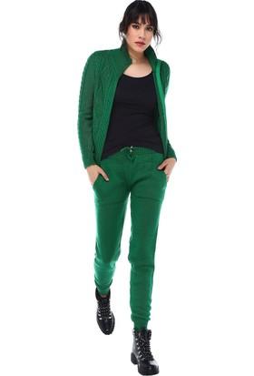 Modkofoni Fermuarlı Saç Örgülü Alt Üst Yeşil Triko Takım