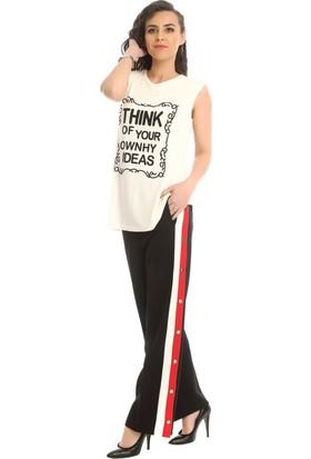 Modkofoni Kırmızı Beyaz Şeritli Ve Çıtçıtlı Siyah Salaş Pantolon