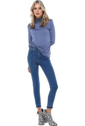 Modkofoni Mavi Açık Denim Incili Yıldız Nakış Detaylı Bayan Pantolon